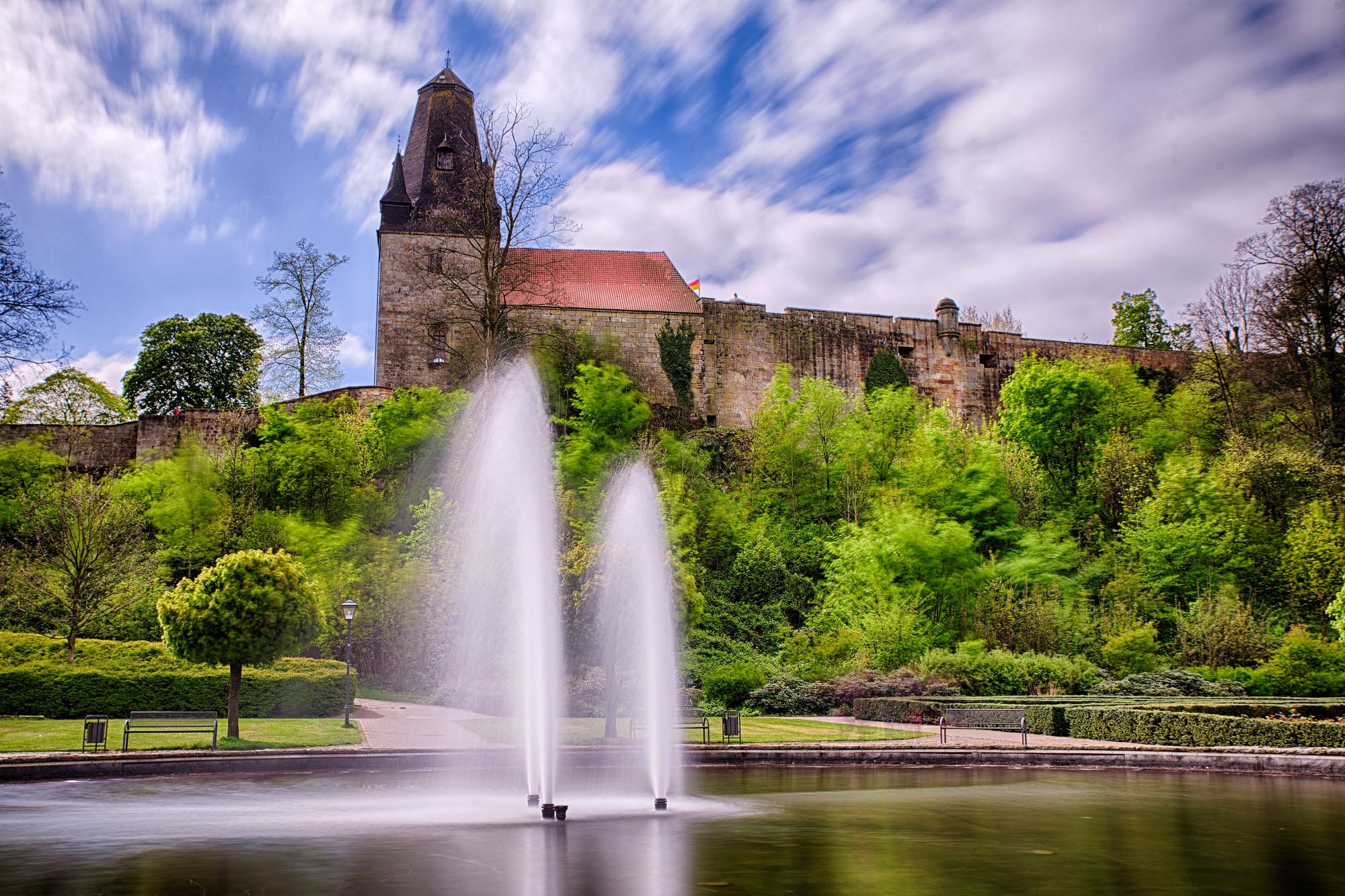 Castle park Bad Bentheim below the castle